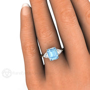 Rare Earth Jewelry Emerald Cut Aquamarine Ring Trillion Accent Stones on Finger 14K Gold