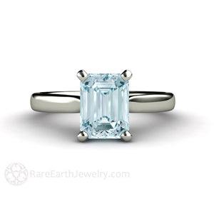 Rare Earth Jewelry Aquamarine Engagement Ring Emerald Cut Solitaire 14K Gold