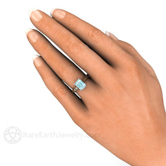 Aquamarine Solitaire Ring on Finger Rare Earth Jewelry