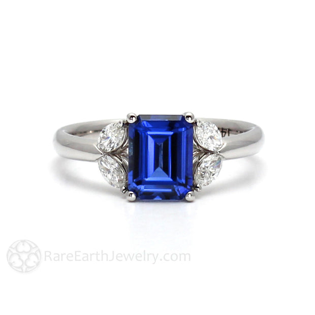 Blue Sapphire Engagement Ring Emerald Cut with Diamonds Rare Earth Jewelry