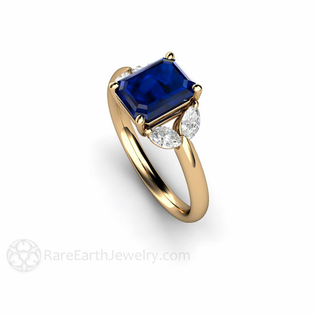 Emerald Cut Blue Sapphire Ring with Diamonds 14K Yellow Gold Rare Earth Jewelry