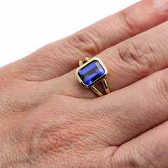 Rare Earth Jewelry Emerald Sapphire Right Hand Ring on Finger
