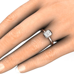 Emerald Cut Diamond Engagement Ring on Finger Rare Earth Jewelry