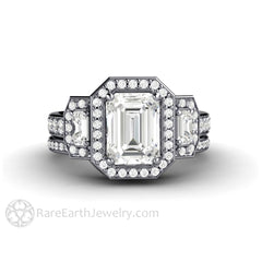Rare Earth Jewelry Colorless Moissanite Wedding Ring Set with Emerald Cut Engagement 14K White Gold