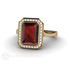 14K Garnet Anniversary or January Birthstone Ring Rare Earth Jewelry