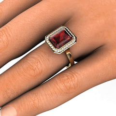 Rare Earth Jewelry Red Garnet Halo Ring on Finger 14K
