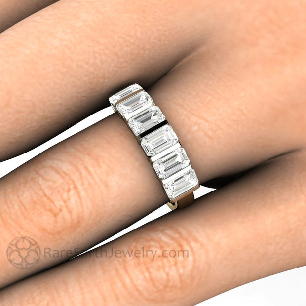 Moissanite Stacking Ring on the Finger Emerald Cut Contemporary Design