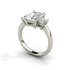 14K Forever Brilliant Moissanite Ring 3 Stone Emerald Cut Rare Earth Jewelry