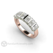 18K Rose Gold and White Gold Wedding Ring with Charles and Colvard Moissanite
