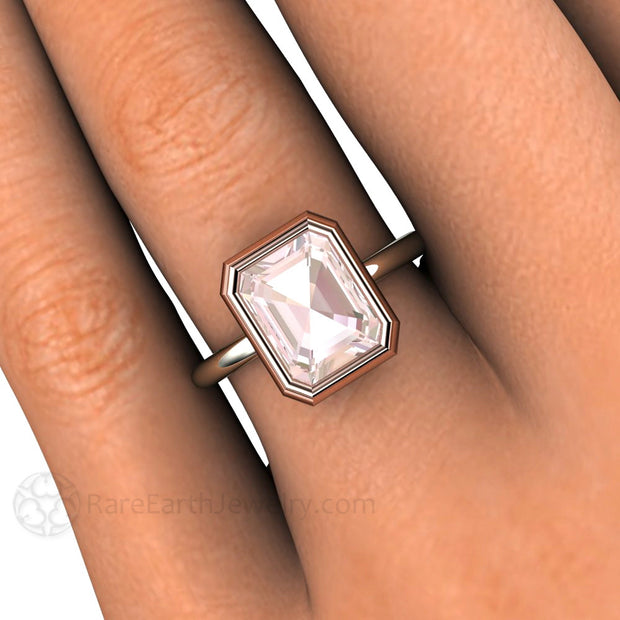Emerald Cut Morganite Right Hand Ring on Finger Rare Earth Jewelry
