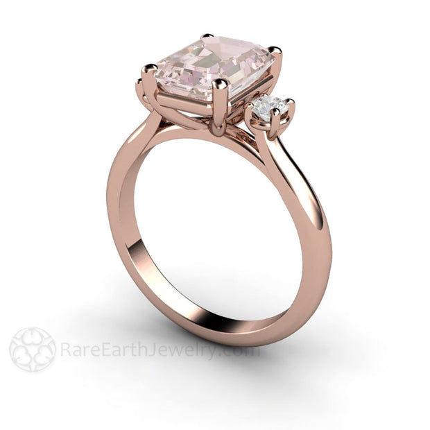 Rare Earth Jewelry 2ct Emerald Morganite Bridal Wedding Ring Rose Gold