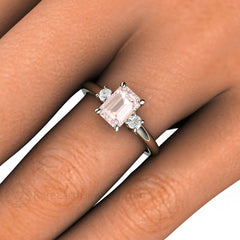 Rare Earth Jewelry 3 Stone Pink Morganite Anniversary Ring