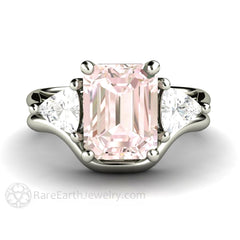 White Gold Pink Morganite Engagement Ring Wedding Band Set