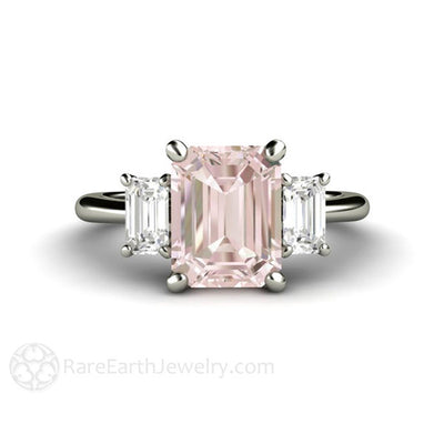 Rare Earth Jewelry Emerald Cut Morganite Engagement Ring 14K White Gold 3 Stone Setting