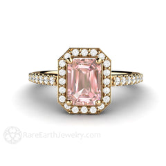 14K Emerald Cut Pink Moissanite Ring with Diamond Halo Rare Earth Jewelry