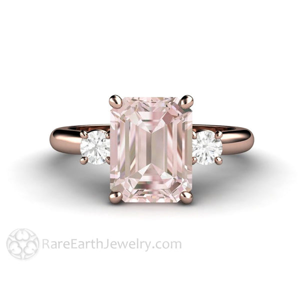 morganite  Emerald Cut Morganite Engagement Ring | 3 Stone Morganite Ring ...