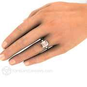 Emerald Cut Morganite and Diamond Ring on Finger 14K Rare Earth Jewelry