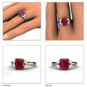 Rare Earth Jewelry Ruby and Diamond Ring Emerald and Marquise Cut Gemstones 14K Gold
