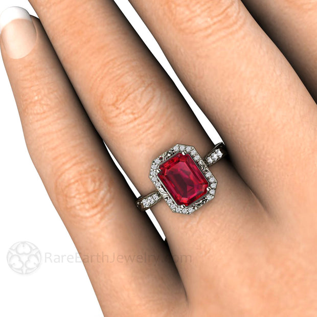 Emerald Cut Vintage Style Ruby Wedding Ring on Finger Rare Earth Jewelry