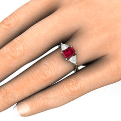 Vintage Style 3 Stone Ruby Engagement Ring on Finger Rare Earth Jewelry