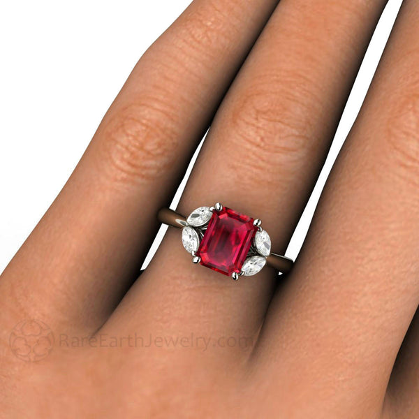 Ruby Engagement Ring With Marquise Diamonds Rare Earth