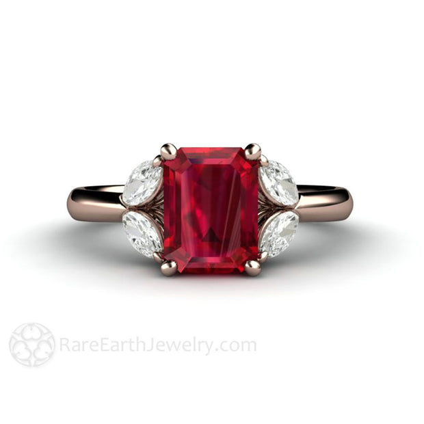 Rare Earth Jewelry Rose Gold Ruby Wedding or Anniversary Ring