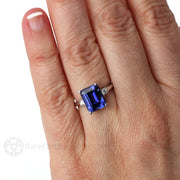 Rare Earth Jewelry Emerald Blue Sapphire 3 Stone Right Hand Ring on Finger