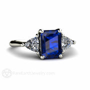 Rare Earth Jewelry Blue Sapphire Ring Emerald Cut with White Sapphire Side Stones September Birthstone or Anniversary 3 Stone