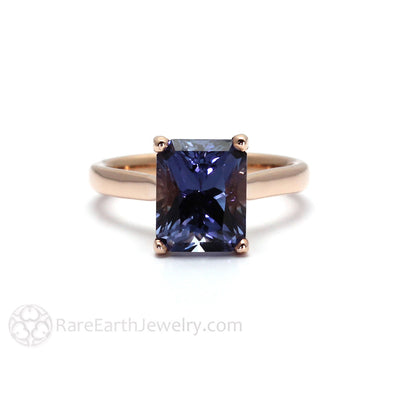 Rare Earth Jewelry Emerald Cut Color Change Sapphire Solitaire Ring Unique Sapphire Engagement Ring in 14K Rose Gold