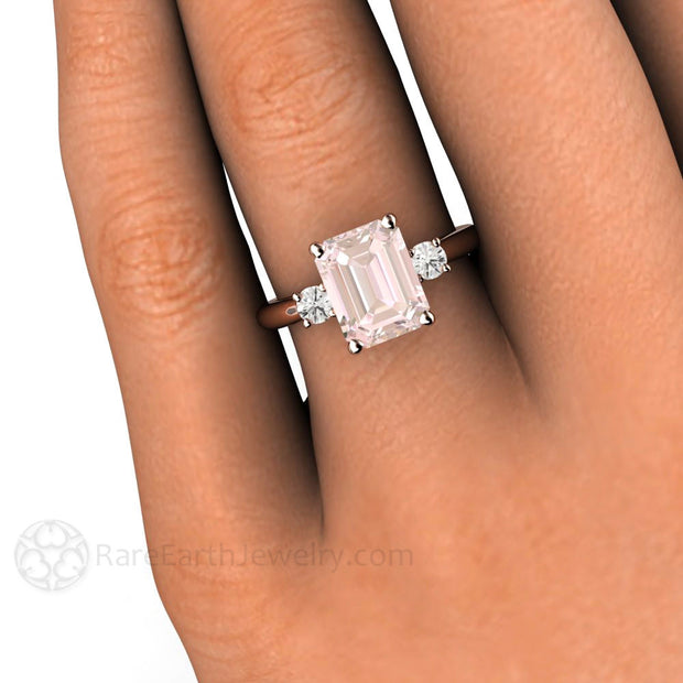 Rare Earth Jewelry 14K Emerald Cut Morganite 3 Stone Engagement Ring with Diamond Accents