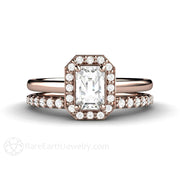 Rare Earth Jewelry Rose Gold White Sapphire Bridal Set Emerald Cut with Diamond Accent Stones
