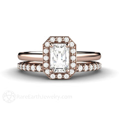 White Sapphire Bridal Ring Set Emerald Cut with Diamond Accent Stones Rare Earth Jewelry