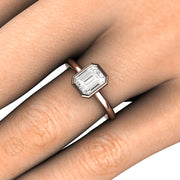 Rare Earth Jewelry 1ct GIA Diamond Wedding Ring on Finger Rose Gold Bezel