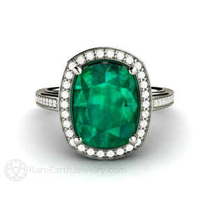 Rare Earth Jewelry Emerald Engagement Ring with Diamond Halo