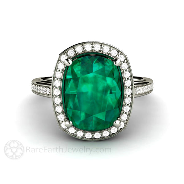 Large Cushion Emerald Ring Engagement Or Right Hand Ring With Diamond Halo