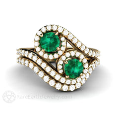 14K Gold Emerald Wedding Set Round Cut Diamond Accented Halo 2 Stone