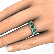 Rare Earth Jewelry Emerald Right Hand Ring on Finger 5 Stone Halo 14K 18K or Platinum Setting