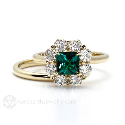 Vintage Style Princess Cut Emerald Ring Claw Prong with Halo