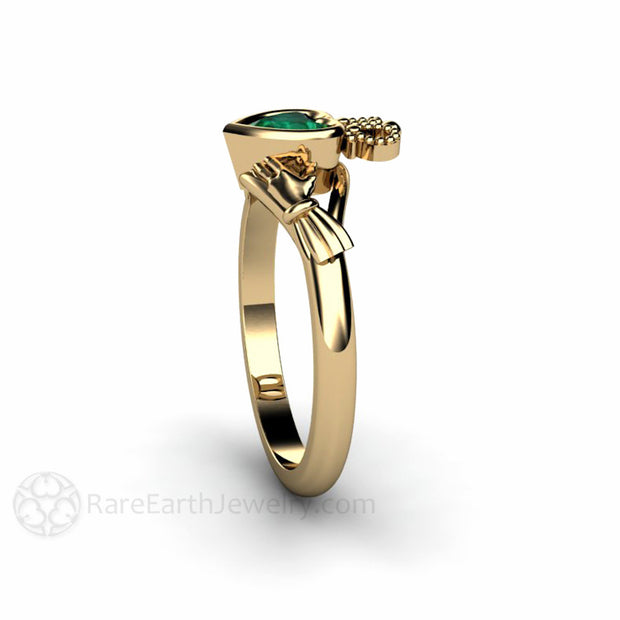 Heart Green Emerald Claddagh Ring Ireland Wedding Rare Earth Jewelry