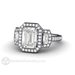 Rare Earth Jewelry Forever One Moissanite Bridal Ring Emerald Cut Halo 14K White Gold