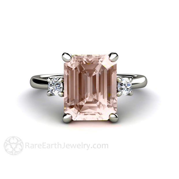 Emerald Cut Morganite Engagement Ring Bridal Wedding Rare Earth Jewelry