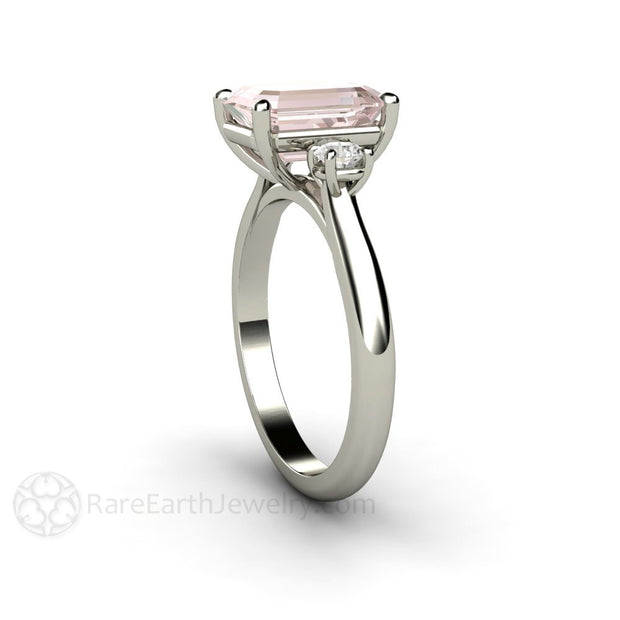 Rare Earth Jewelry Platinum Pink Morganite Ring Solitaire Emerald Cut