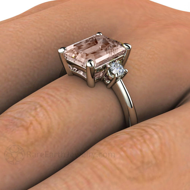 Emerald Morganite Ring on Finger Rare Earth Jewelry
