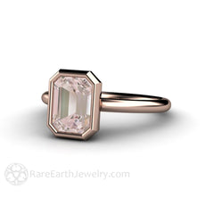 Rare Earth Jewelry Morganite Solitaire Ring Bezel Set Emerald Cut Center Stone 14K Rose Gold