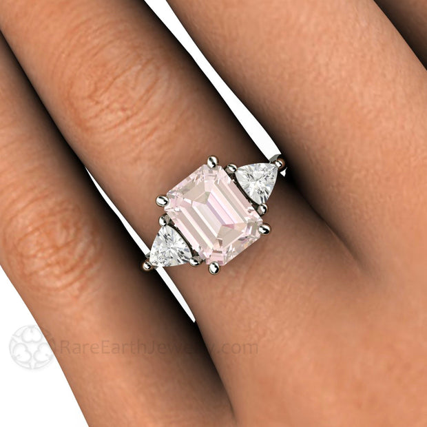 Vintage Style Three Stone Morganite Engagement Ring with Trillions