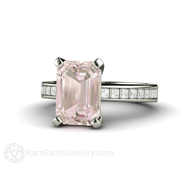 Rare Earth Jewelry Pink Emerald Morganite Solitaire Wedding Ring with Princess Diamonds 14K Gold