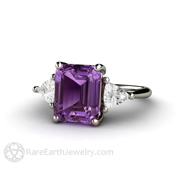 Rare Earth Jewelry 3 Stone Purple Sapphire Ring Emerald Cut with White Trillions Vintage Design 14K Gold