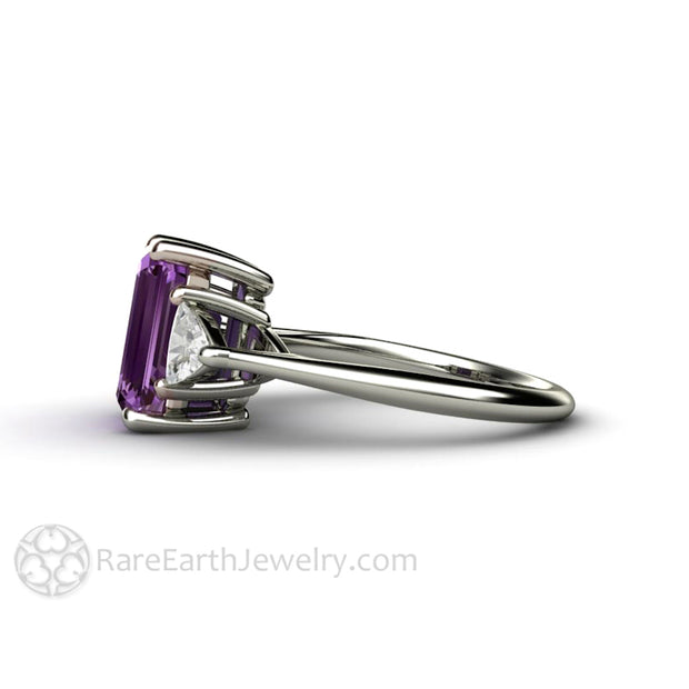 Rare Earth Jewelry 10x8mm Emerald Purple Sapphire Ring with White Sapphire Accents 14K Gold