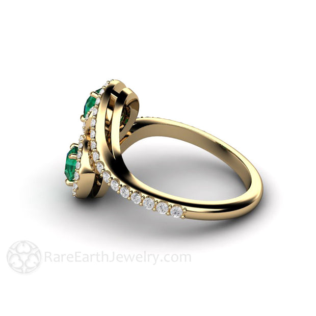 Emerald Right Hand Ring with Diamonds 14K 2 Stone Halo