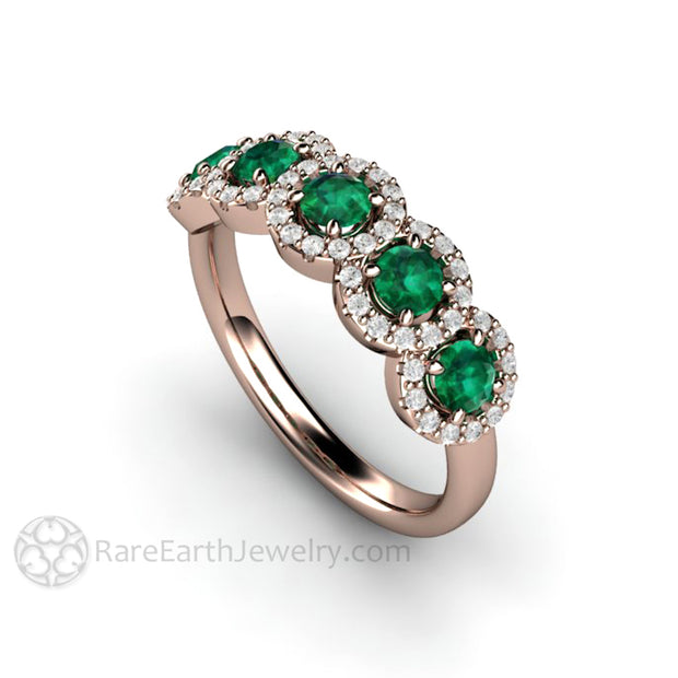 Rare Earth Jewelry Rose Gold Emerald and Diamond Halo 5 Stone Ring Natural Gemstones Round Cut Stackable Band